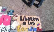 Un grupo de manifestantes decidió recibir 2015 en la plaza Francia. Exigen libertad para presos políticos